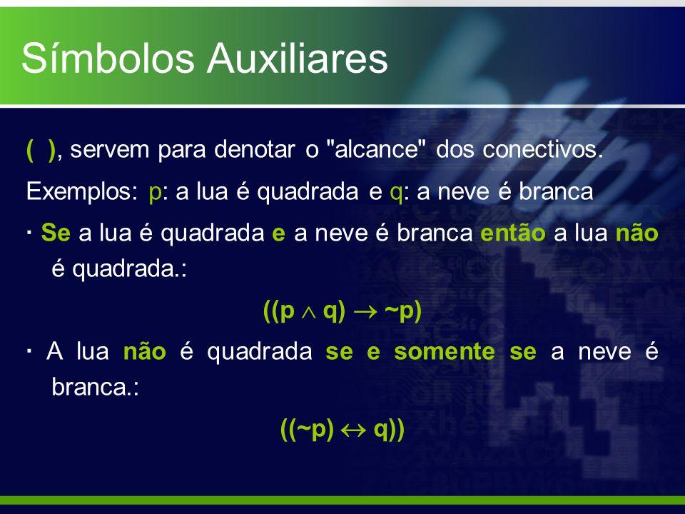Símbolos Auxiliares ( ), servem para denotar o alcance dos conectivos.