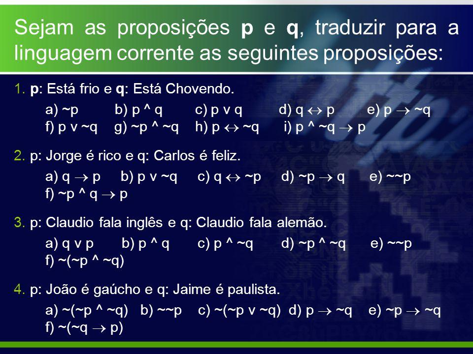 Sejam as proposições p e q, traduzir para a linguagem corrente as seguintes proposições: 1. p: Está frio e q: Está Chovendo. a) ~p b) p ^ q c) p v q d