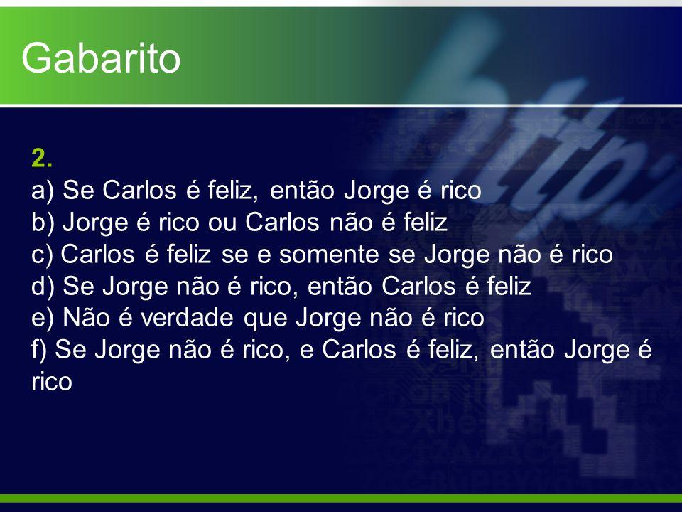 2. a) Se Carlos é feliz, então Jorge é rico b) Jorge é rico ou Carlos não é feliz c) Carlos é feliz se e somente se Jorge não é rico d) Se Jorge não é