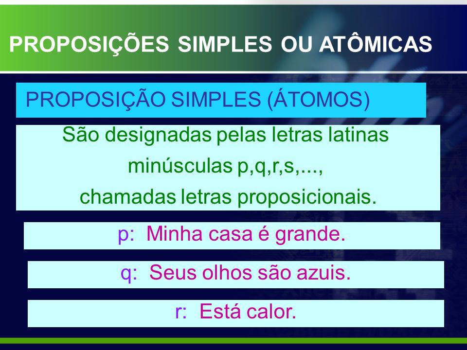 São designadas pelas letras latinas minúsculas p,q,r,s,..., chamadas letras proposicionais. p: Minha casa é grande. q: Seus olhos são azuis. r: Está c