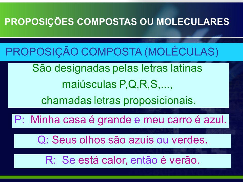 São designadas pelas letras latinas maiúsculas P,Q,R,S,..., chamadas letras proposicionais.