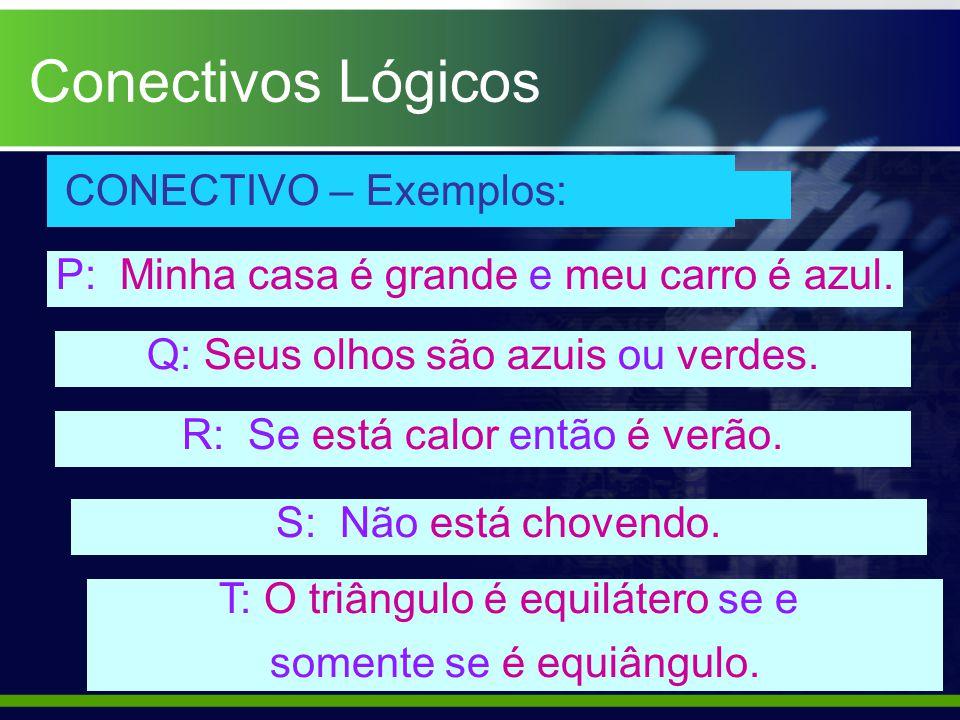 CONECTIVO – Exemplos: P: Minha casa é grande e meu carro é azul. Q: Seus olhos são azuis ou verdes. R: Se está calor então é verão. S: Não está choven