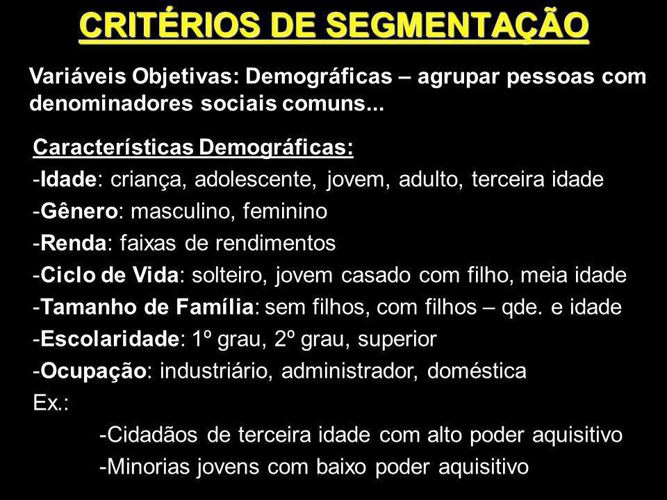 Variáveis Objetivas: Demográficas – agrupar pessoas com denominadores sociais comuns... Características Demográficas: -Idade: criança, adolescente, jo