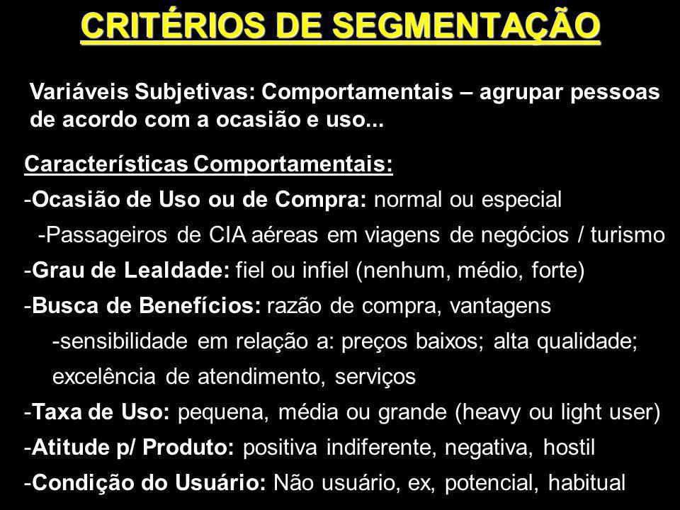 Variáveis Subjetivas: Comportamentais – agrupar pessoas de acordo com a ocasião e uso... Características Comportamentais: -Ocasião de Uso ou de Compra