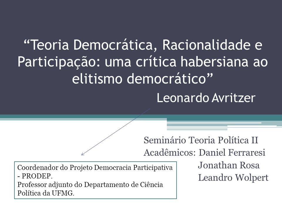 """""""Teoria Democrática, Racionalidade e Participação: uma crítica habersiana ao elitismo democrático"""" Leonardo Avritzer Seminário Teoria Política II Acad"""