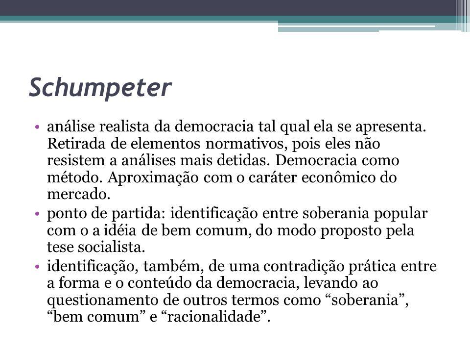 Schumpeter análise realista da democracia tal qual ela se apresenta. Retirada de elementos normativos, pois eles não resistem a análises mais detidas.