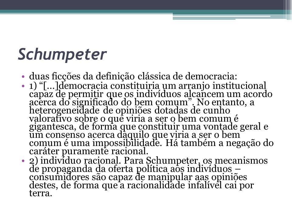 """Schumpeter duas ficções da definição clássica de democracia: 1) """"[...]democracia constituiria um arranjo institucional capaz de permitir que os indiví"""