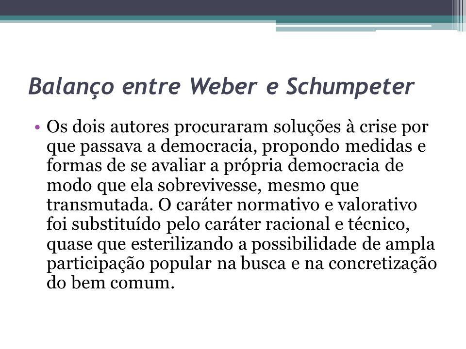 Balanço entre Weber e Schumpeter Os dois autores procuraram soluções à crise por que passava a democracia, propondo medidas e formas de se avaliar a p