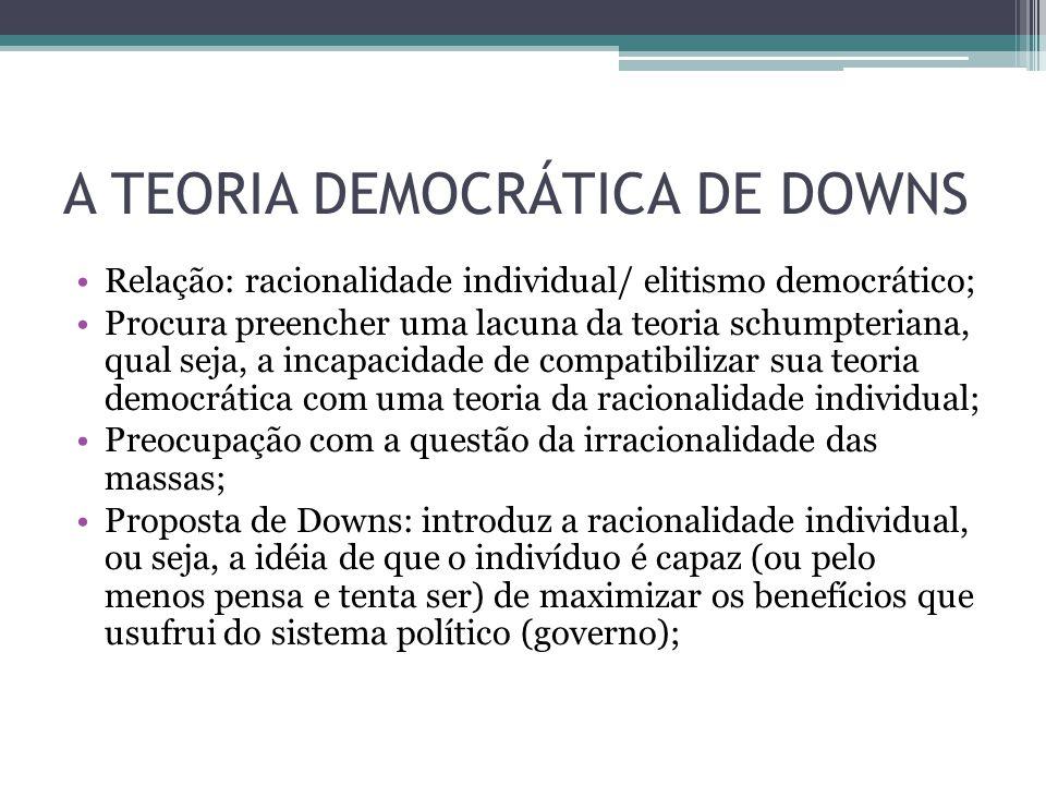 A TEORIA DEMOCRÁTICA DE DOWNS Relação: racionalidade individual/ elitismo democrático; Procura preencher uma lacuna da teoria schumpteriana, qual seja