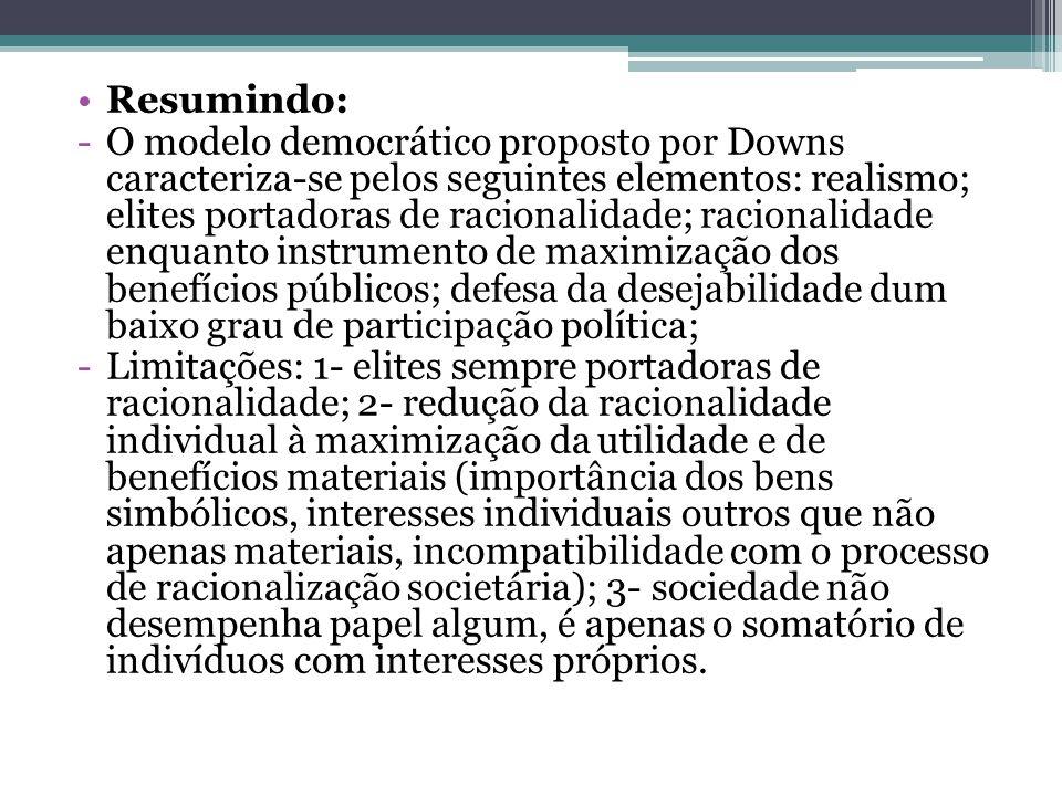 Resumindo: -O modelo democrático proposto por Downs caracteriza-se pelos seguintes elementos: realismo; elites portadoras de racionalidade; racionalid