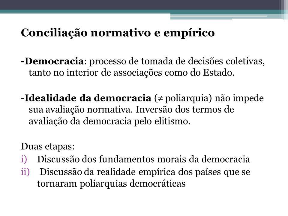 Conciliação normativo e empírico -Democracia: processo de tomada de decisões coletivas, tanto no interior de associações como do Estado. -Idealidade d