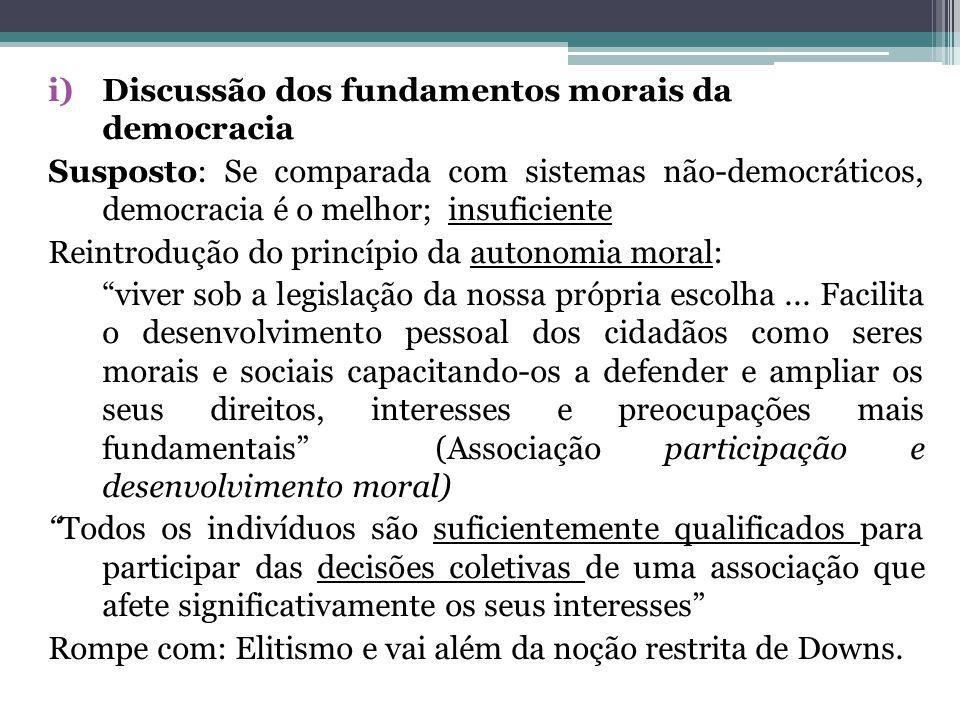 i)Discussão dos fundamentos morais da democracia Susposto: Se comparada com sistemas não-democráticos, democracia é o melhor; insuficiente Reintroduçã