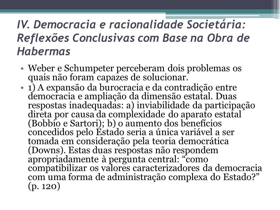 IV. Democracia e racionalidade Societária: Reflexões Conclusivas com Base na Obra de Habermas Weber e Schumpeter perceberam dois problemas os quais nã