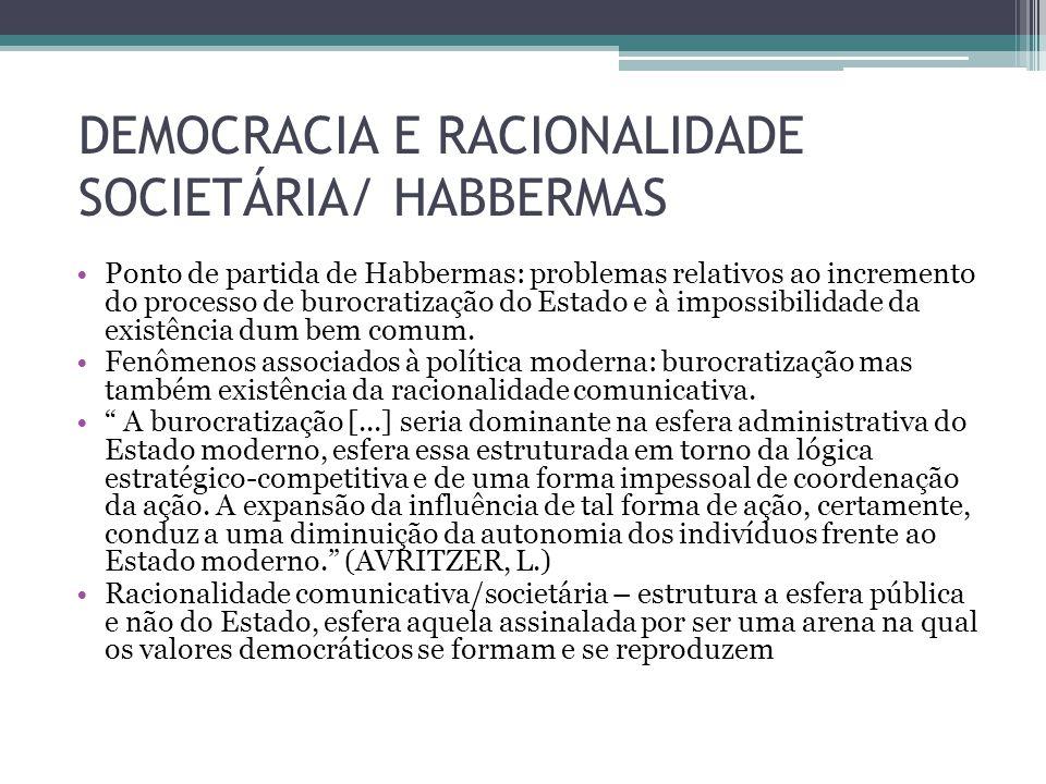 DEMOCRACIA E RACIONALIDADE SOCIETÁRIA/ HABBERMAS Ponto de partida de Habbermas: problemas relativos ao incremento do processo de burocratização do Est
