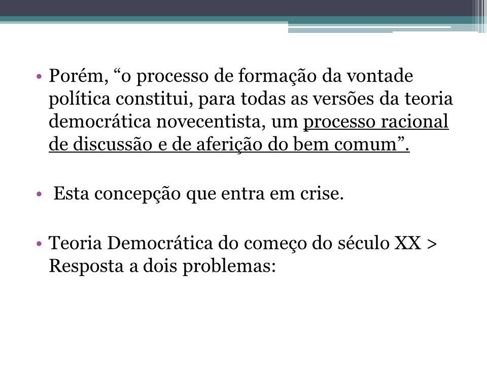 """Porém, """"o processo de formação da vontade política constitui, para todas as versões da teoria democrática novecentista, um processo racional de discus"""