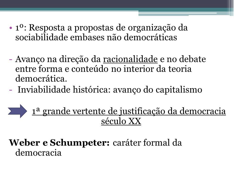 1º: Resposta a propostas de organização da sociabilidade embases não democráticas -Avanço na direção da racionalidade e no debate entre forma e conteú