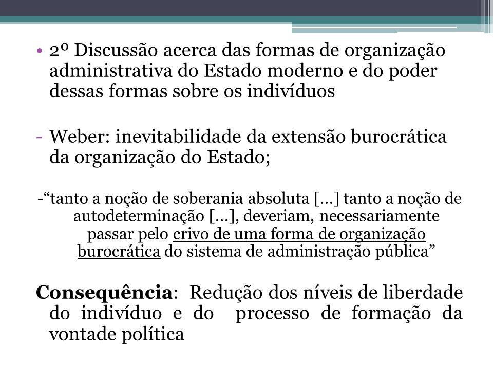 2º Discussão acerca das formas de organização administrativa do Estado moderno e do poder dessas formas sobre os indivíduos -Weber: inevitabilidade da