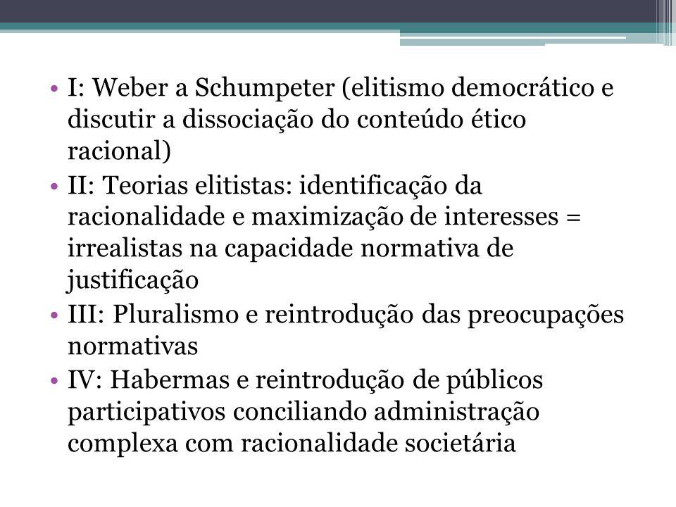 I: Weber a Schumpeter (elitismo democrático e discutir a dissociação do conteúdo ético racional) II: Teorias elitistas: identificação da racionalidade
