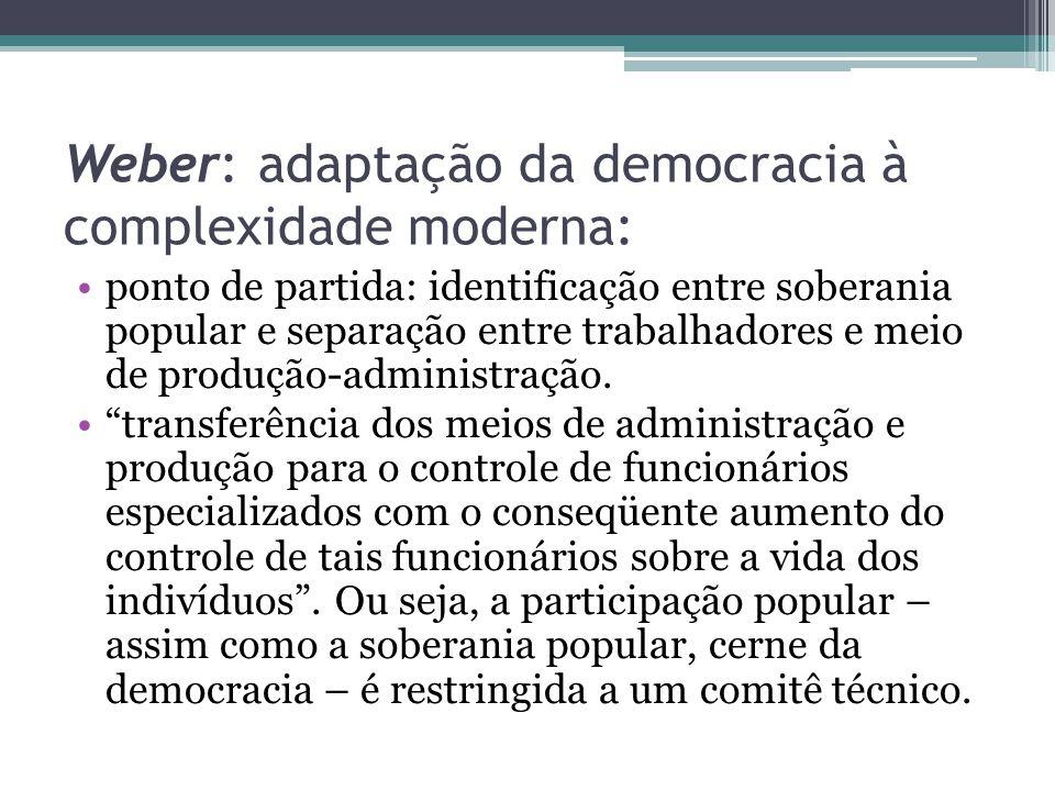 Weber: adaptação da democracia à complexidade moderna: ponto de partida: identificação entre soberania popular e separação entre trabalhadores e meio