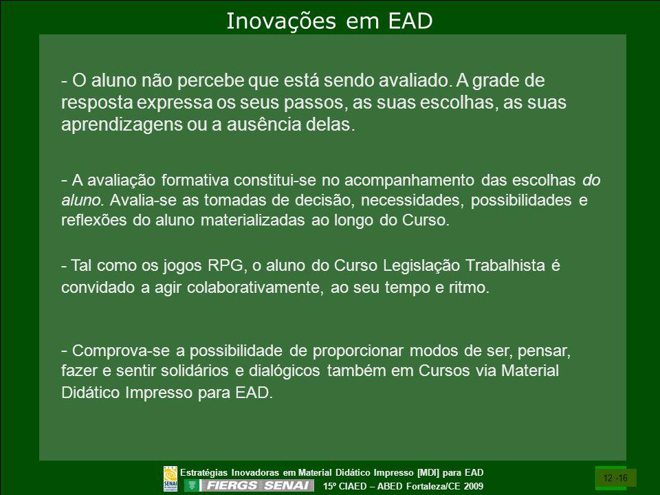 Estratégias Inovadoras em Material Didático Impresso [MDI] para EAD 15º CIAED – ABED Fortaleza/CE 2009 - O aluno não percebe que está sendo avaliado.