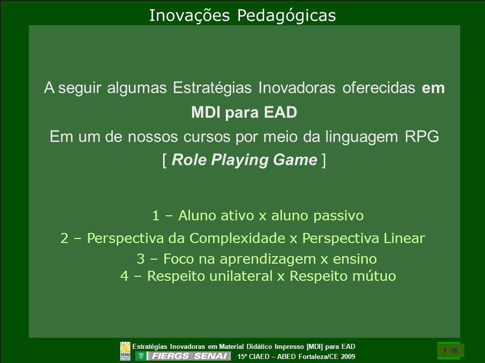 Estratégias Inovadoras em Material Didático Impresso [MDI] para EAD 15º CIAED – ABED Fortaleza/CE 2009 A seguir algumas Estratégias Inovadoras ofereci