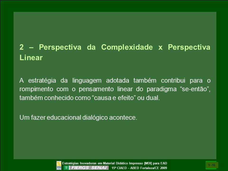 Estratégias Inovadoras em Material Didático Impresso [MDI] para EAD 15º CIAED – ABED Fortaleza/CE 2009 2 – Perspectiva da Complexidade x Perspectiva L