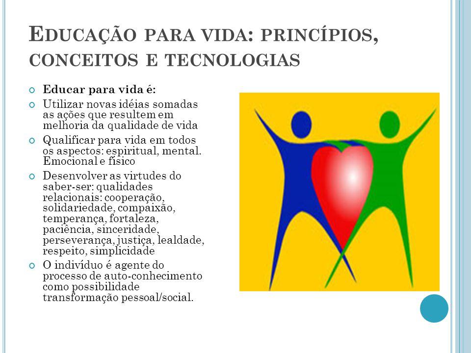 E DUCAÇÃO PARA VIDA : PRINCÍPIOS, CONCEITOS E TECNOLOGIAS Educar para vida é: Utilizar novas idéias somadas as ações que resultem em melhoria da quali
