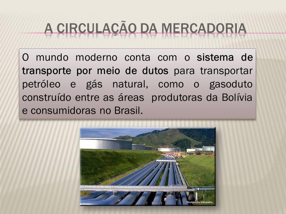 O mundo moderno conta com o sistema de transporte por meio de dutos para transportar petróleo e gás natural, como o gasoduto construído entre as áreas