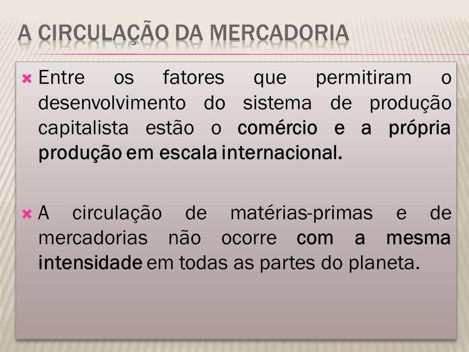  Entre os fatores que permitiram o desenvolvimento do sistema de produção capitalista estão o comércio e a própria produção em escala internacional.