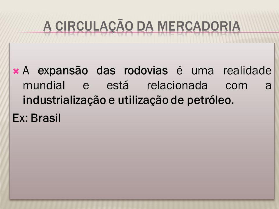  A expansão das rodovias é uma realidade mundial e está relacionada com a industrialização e utilização de petróleo. Ex: Brasil  A expansão das rodo