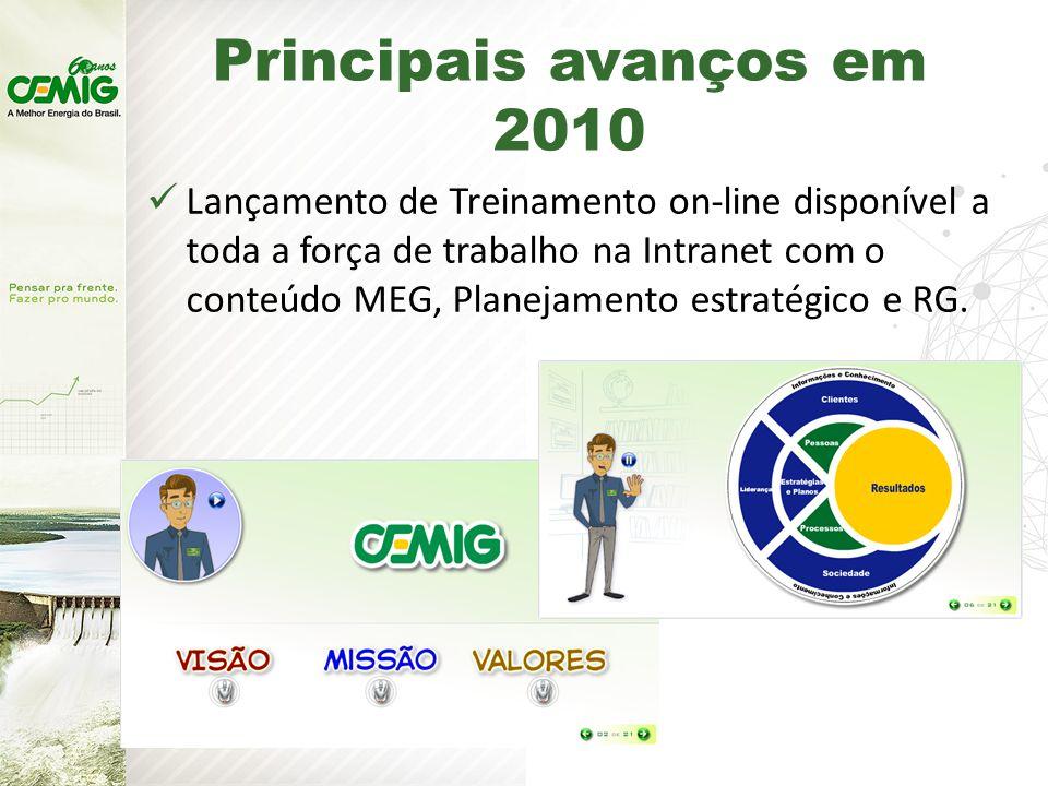 Principais avanços em 2010 Lançamento de Treinamento on-line disponível a toda a força de trabalho na Intranet com o conteúdo MEG, Planejamento estratégico e RG.