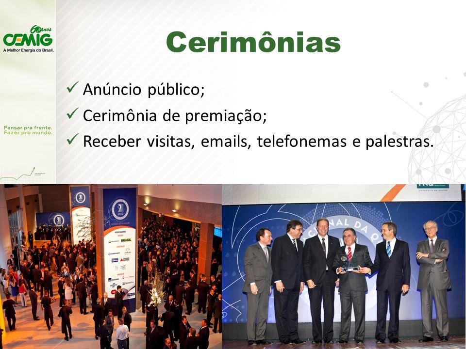 Cerimônias Anúncio público; Cerimônia de premiação; Receber visitas, emails, telefonemas e palestras.