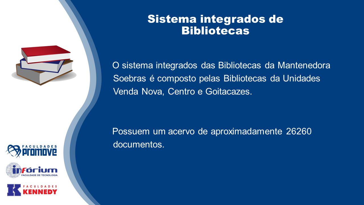 Sistema integrados de Bibliotecas O sistema integrados das Bibliotecas da Mantenedora Soebras é composto pelas Bibliotecas da Unidades Venda Nova, Centro e Goitacazes.
