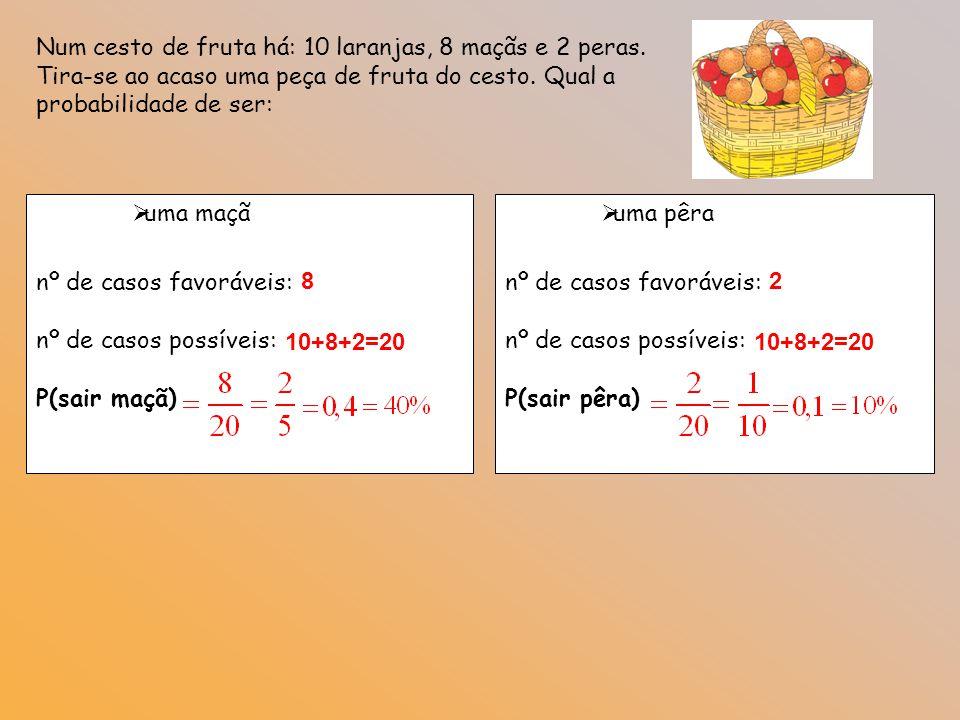 EXPERIÊNCIA: Lançamento de um dado equilibrado Calcula a probabilidade de cada um dos acontecimentos: A: Sair o número 5 1) Só há uma face 5 Um dado tem 6 faces 2)B: Sair um número maior que 2 Nº casos favoráveis = 4 Nº casos possíveis = 6 B = { 3, 4, 5, 6 }