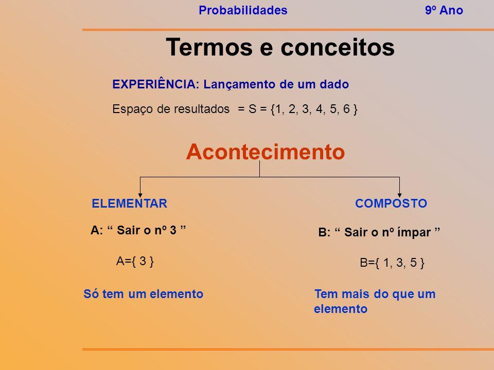 Probabilidades9º Ano Termos e conceitos Acontecimentos Um acontecimento é um subconjunto do espaço de resultados. EXPERIÊNCIA 1: Lançamento de um dado