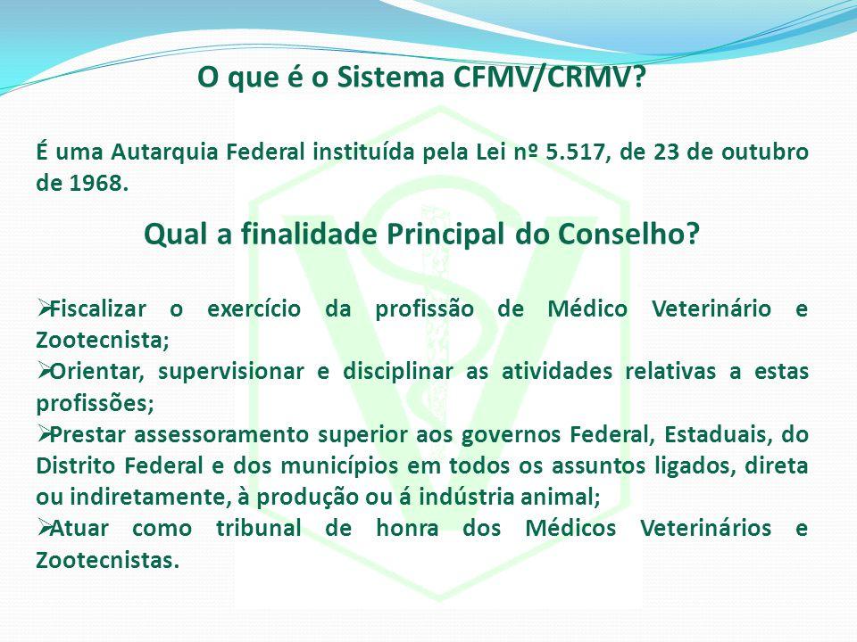 O que é o Sistema CFMV/CRMV? É uma Autarquia Federal instituída pela Lei nº 5.517, de 23 de outubro de 1968. Qual a finalidade Principal do Conselho?