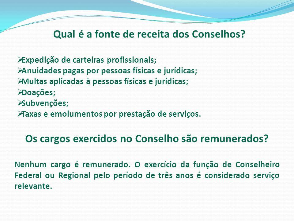 Qual é a fonte de receita dos Conselhos?  Expedição de carteiras profissionais;  Anuidades pagas por pessoas físicas e jurídicas;  Multas aplicadas