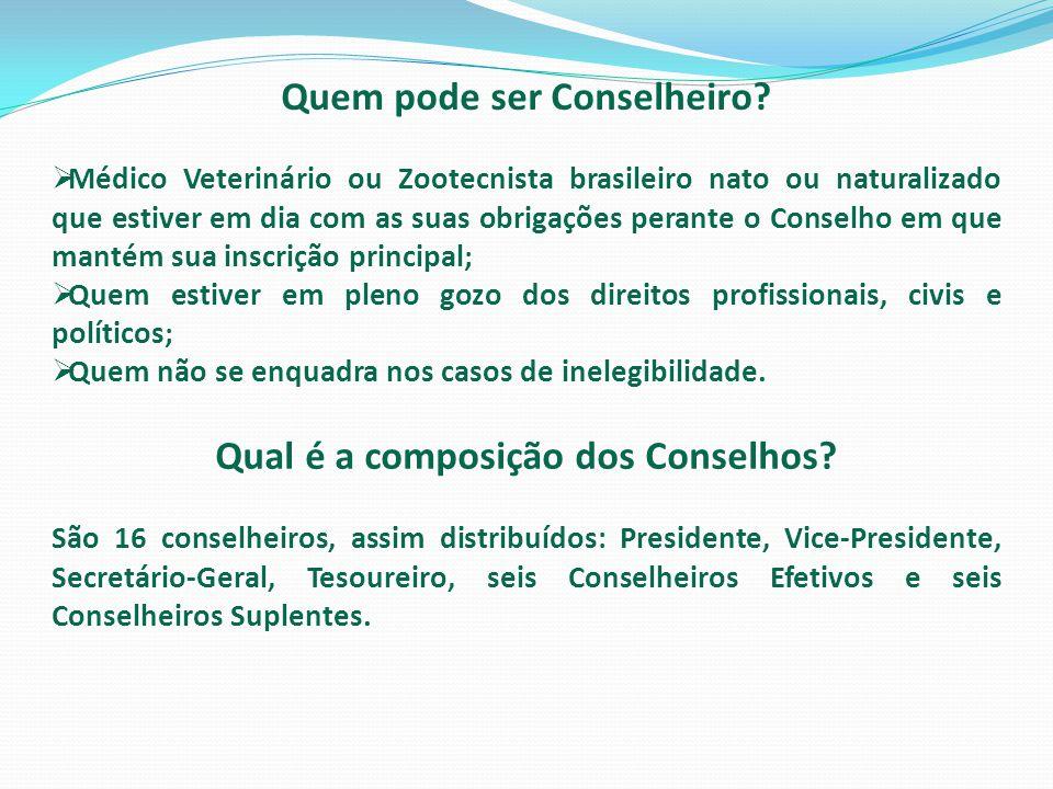 Quem pode ser Conselheiro?  Médico Veterinário ou Zootecnista brasileiro nato ou naturalizado que estiver em dia com as suas obrigações perante o Con
