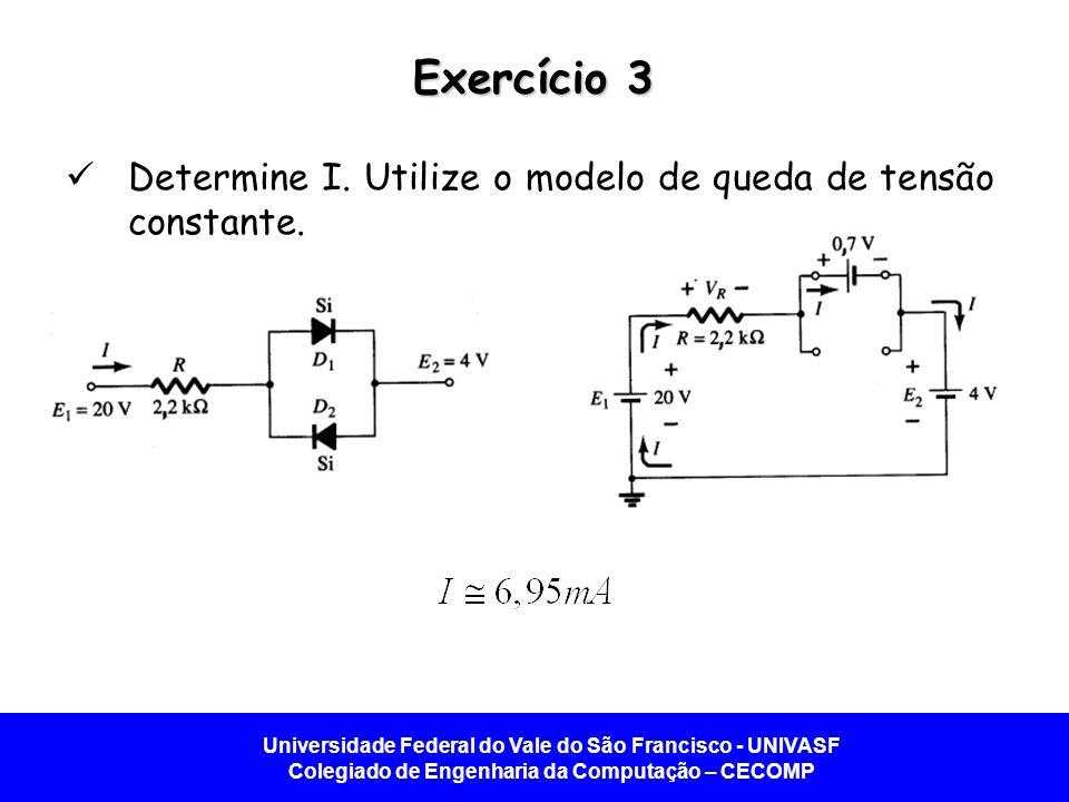 Universidade Federal do Vale do São Francisco - UNIVASF Colegiado de Engenharia da Computação – CECOMP Exercício 3 Determine I. Utilize o modelo de qu
