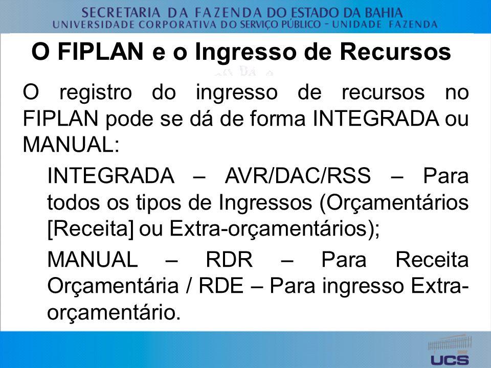 O FIPLAN e o Ingresso de Recursos O registro do ingresso de recursos no FIPLAN pode se dá de forma INTEGRADA ou MANUAL: INTEGRADA – AVR/DAC/RSS – Para todos os tipos de Ingressos (Orçamentários [Receita] ou Extra-orçamentários); MANUAL – RDR – Para Receita Orçamentária / RDE – Para ingresso Extra- orçamentário.