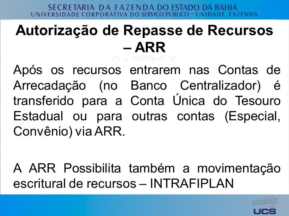 Autorização de Repasse de Recursos – ARR Após os recursos entrarem nas Contas de Arrecadação (no Banco Centralizador) é transferido para a Conta Única do Tesouro Estadual ou para outras contas (Especial, Convênio) via ARR.