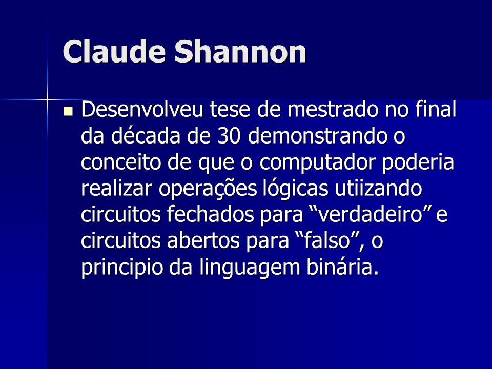 Claude Shannon Desenvolveu tese de mestrado no final da década de 30 demonstrando o conceito de que o computador poderia realizar operações lógicas ut