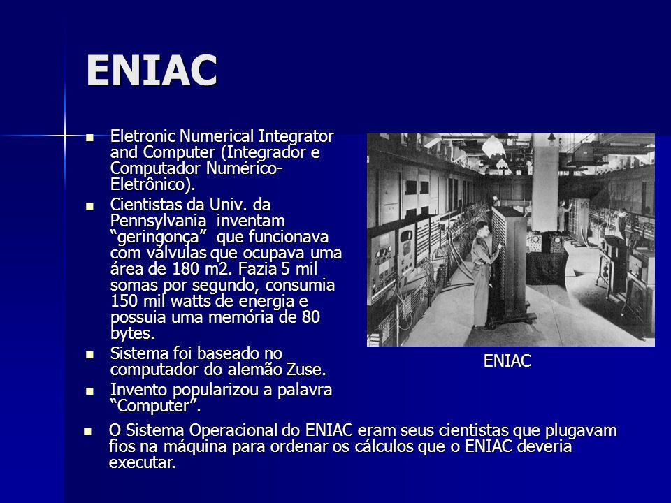 ENIAC Eletronic Numerical Integrator and Computer (Integrador e Computador Numérico- Eletrônico). Eletronic Numerical Integrator and Computer (Integra