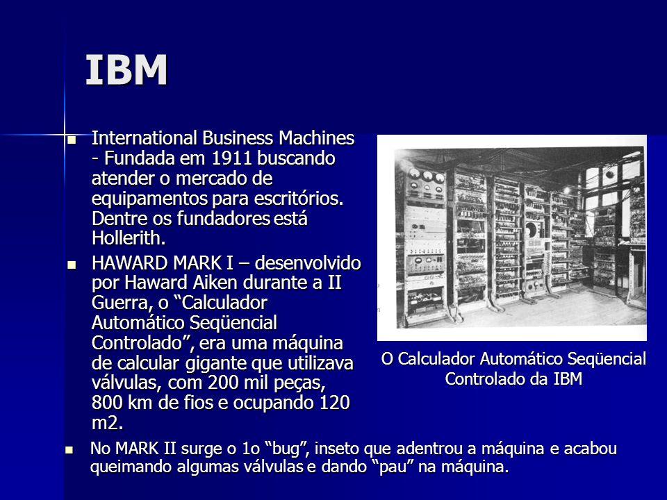 IBM International Business Machines - Fundada em 1911 buscando atender o mercado de equipamentos para escritórios. Dentre os fundadores está Hollerith