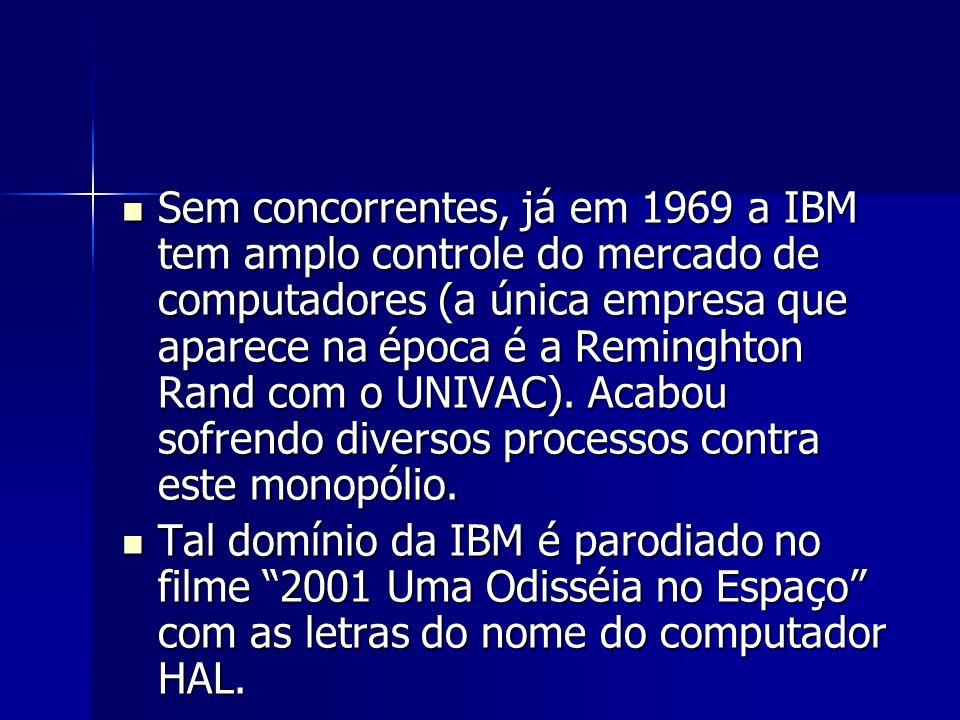 Sem concorrentes, já em 1969 a IBM tem amplo controle do mercado de computadores (a única empresa que aparece na época é a Reminghton Rand com o UNIVA