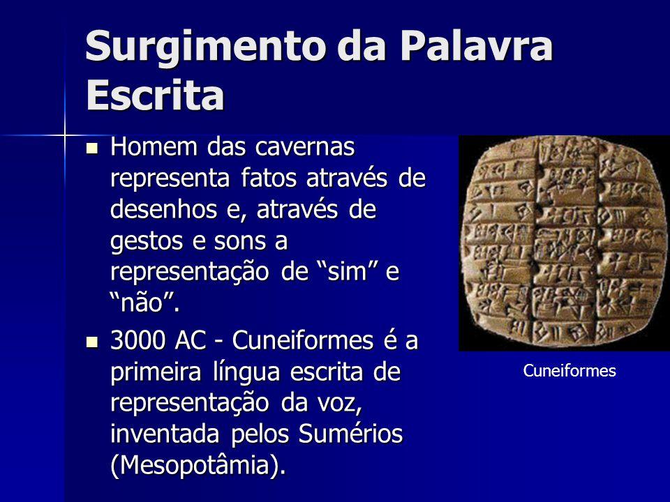 """Surgimento da Palavra Escrita Homem das cavernas representa fatos através de desenhos e, através de gestos e sons a representação de """"sim"""" e """"não"""". Ho"""