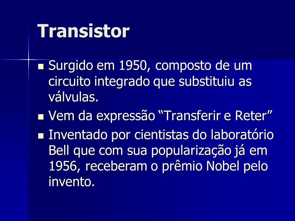 Transistor Surgido em 1950, composto de um circuito integrado que substituiu as válvulas. Surgido em 1950, composto de um circuito integrado que subst