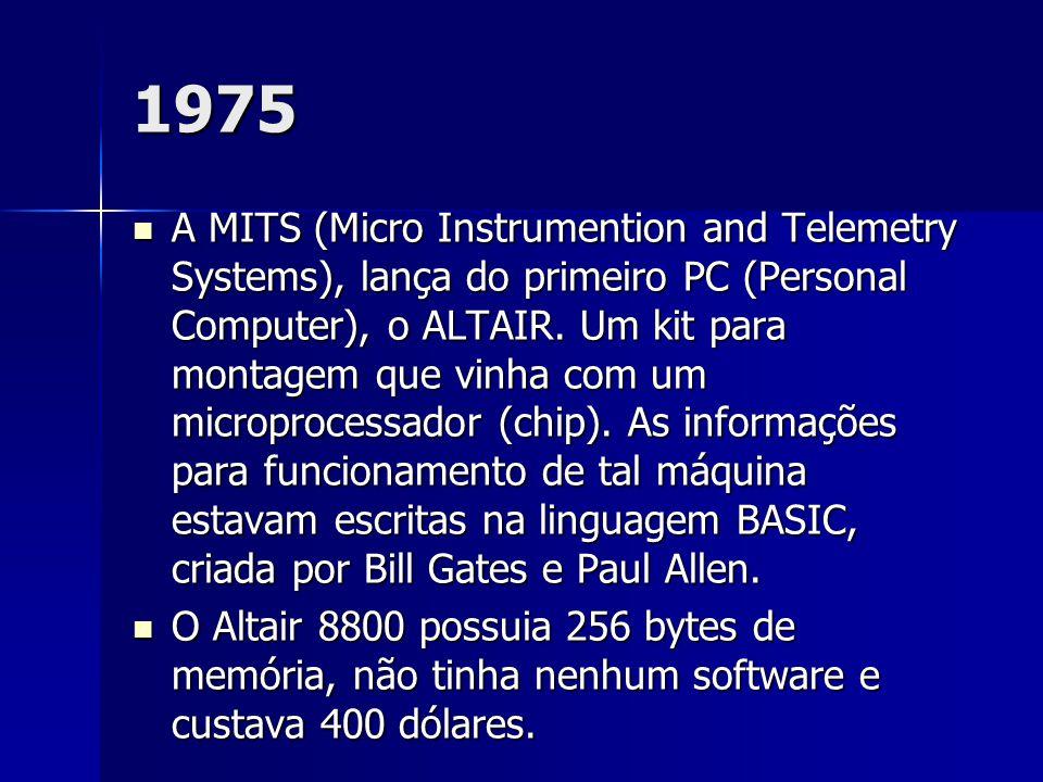1975 A MITS (Micro Instrumention and Telemetry Systems), lança do primeiro PC (Personal Computer), o ALTAIR. Um kit para montagem que vinha com um mic
