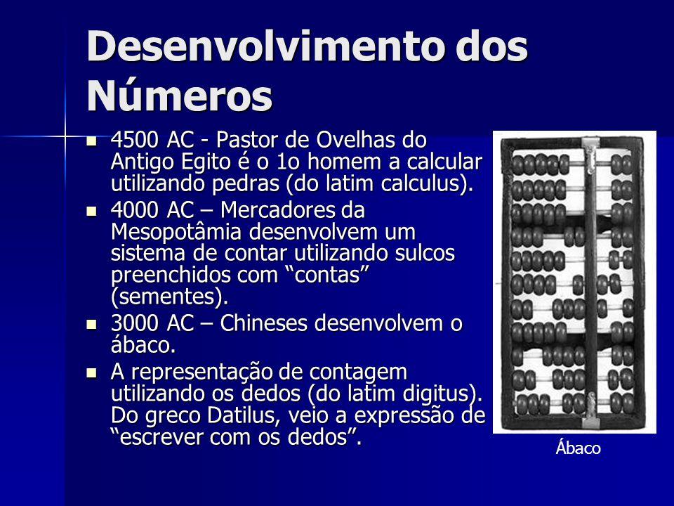 Desenvolvimento dos Números 4500 AC - Pastor de Ovelhas do Antigo Egito é o 1o homem a calcular utilizando pedras (do latim calculus). 4500 AC - Pasto