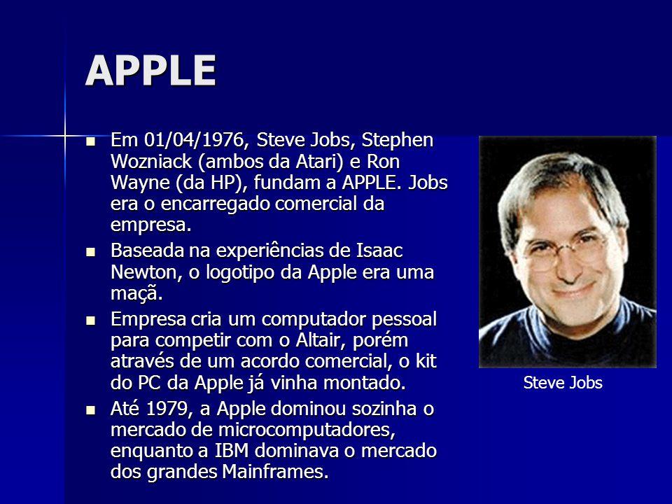 APPLE Em 01/04/1976, Steve Jobs, Stephen Wozniack (ambos da Atari) e Ron Wayne (da HP), fundam a APPLE. Jobs era o encarregado comercial da empresa. E
